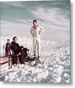 The Shah & Wife Skiing Metal Print