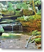 The Waterfall In Old Man's Cave Hocking Hills Ohio Metal Print