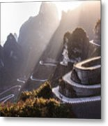 The Winding Road Of Tianmen Mountain Metal Print