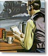 Thomas Edison, The Railway Telegraphist  Metal Print