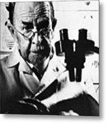 Thomas Hunt Morgan With Microscope Metal Print