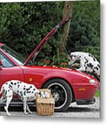 Three Dalmatians Around Red Sports Car Metal Print