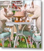Three Little Pigs And The Birthday Cake Metal Print