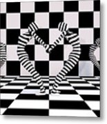 Three Of Hearts Metal Print