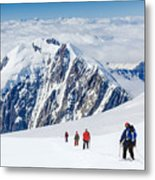 Tied Climbers Climbing Mountain With Metal Print