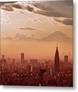 Tokyo And Mount Fuji Metal Print