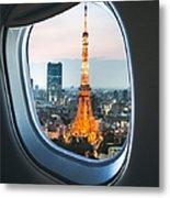 Tokyo Skyline With The Tokyo Tower Metal Print