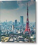 Tokyo Tower Futuristic Skyscraper Metal Print