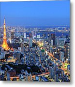 Tokyo Tower View From Mori Tower Metal Print