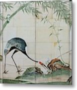 Top Quality Art - Cranes Pines And Bamboo Metal Print