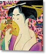 Top Quality Art - Woman With A Comb Metal Print