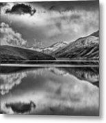 Topaz Lake Winter Reflection, Black And White Metal Print