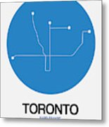 Toronto Blue Subway Map Metal Print