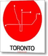 Toronto Red Subway Map Metal Print
