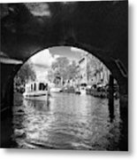 Tourboat On Amsterdam Canal Metal Print