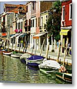 Tourists Along A Canal, Murano, Venice Metal Print