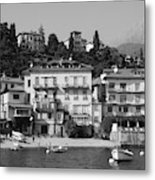 Town In The Shore Of Lake Como In Black And White Metal Print
