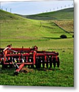 Tractor Blades On Green Pasture Metal Print