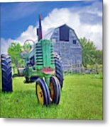 Tractor - On The Farm Metal Print