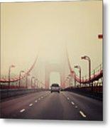 Traffic Crossing A Foggy Golden Gate Metal Print