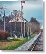 Train Tracks To Old Town Metal Print