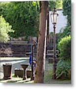 tree lamp and old water pump in Cochem Germany Metal Print