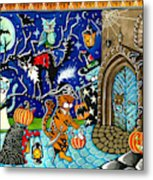 Trick Or Treat Halloween Cats Metal Print