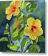 Tropical Yellow Orange Hibiscus With Background Metal Print