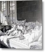 Trying To Calm Babies With Radio Metal Print