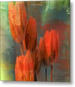 Tulips With Green Background Metal Print