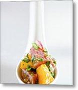 Tuna Ceviche In Asian Soup Spoon Metal Print