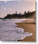 Tuna Punta Lighthouse And Beach In Puerto Rico Metal Print