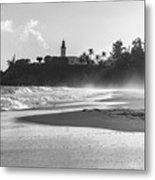Tuna Punta Lighthouse Black And White Metal Print
