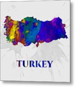 Turkey, Map, Artist Singh Metal Print