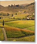 Tuscany Farmhouse And Vineyard In Fall Metal Print