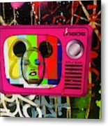 Tv Madonna On Air On Barcelona Walls  Metal Print