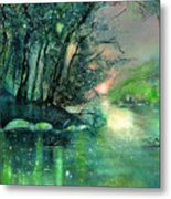 Twilight At The River Rhine Metal Print