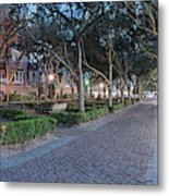 Twilight Panorama Of Charleston Waterfront Park Promenade And Shady Canopy Of Oaks - South Carolina Metal Print