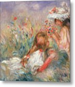 Two Children Seated Among Flowers, 1900 Metal Print