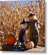 Two Cute Scarecrows With Pumpkins In The Dry Corn Field Metal Print