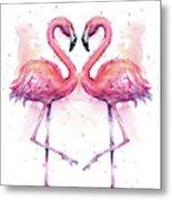 Two Flamingos In Love Watercolor Metal Print