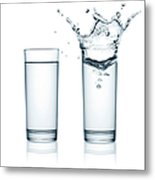 Two Glasses Of Water, One With Splashes Metal Print