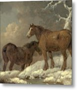 Two Horses In The Snow Metal Print