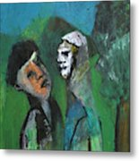 Two Men In A Field Metal Print