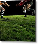 Two Opposing Rugby Players, One Holding Metal Print