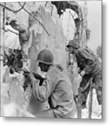 Two Soldiers With Rifles Behind Trees Metal Print