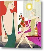 Two Woman Drinking Wine Metal Print