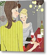 Two Woman With Wine At Bar Counter Metal Print