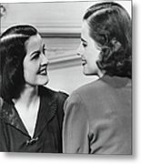 Two Women Conversing In Living Room, B&w Metal Print