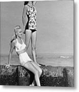Two Women In Bathing Suits Metal Print